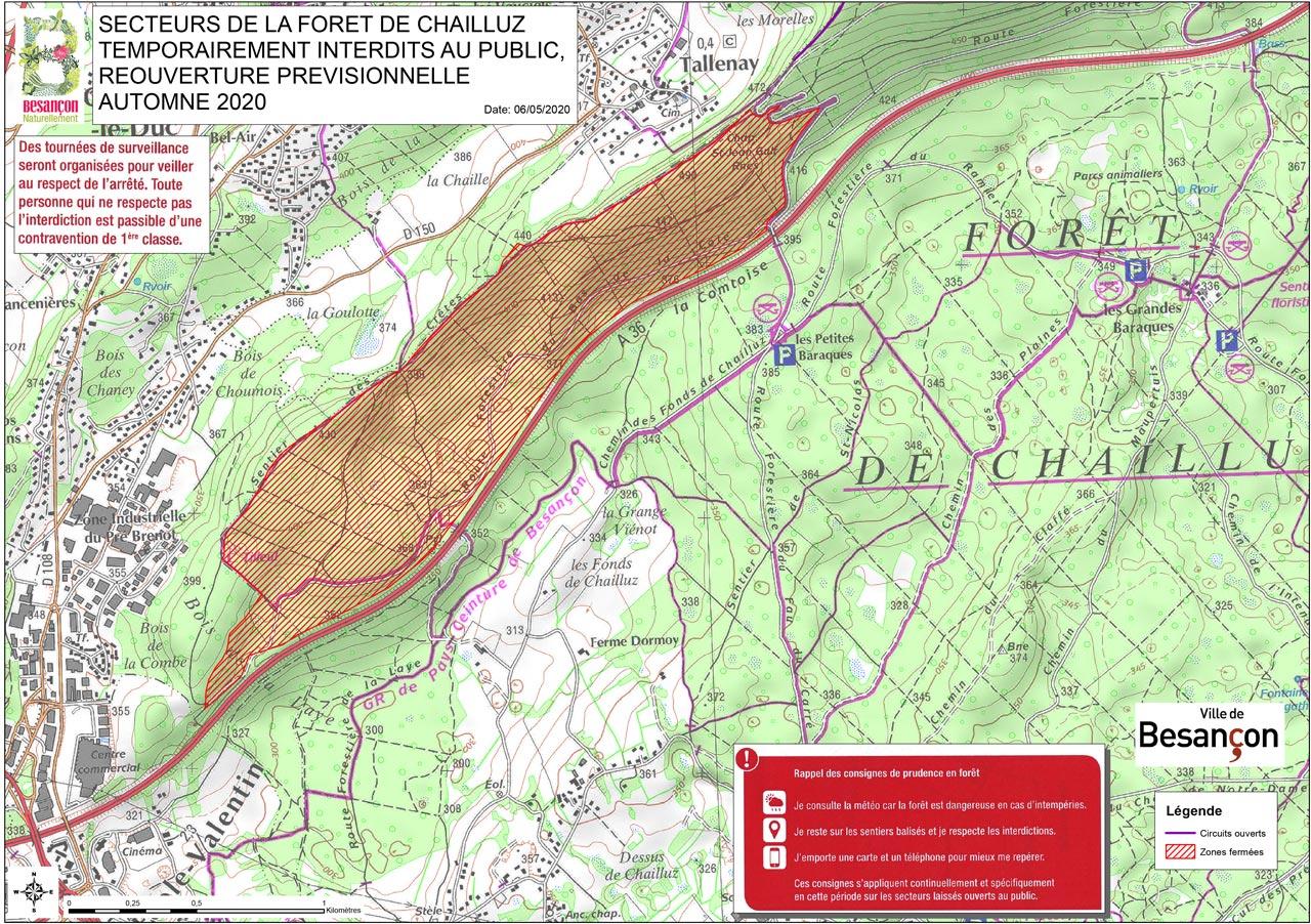 Carte des secteurs de la forêt de Chailluz temporairement interdits au public